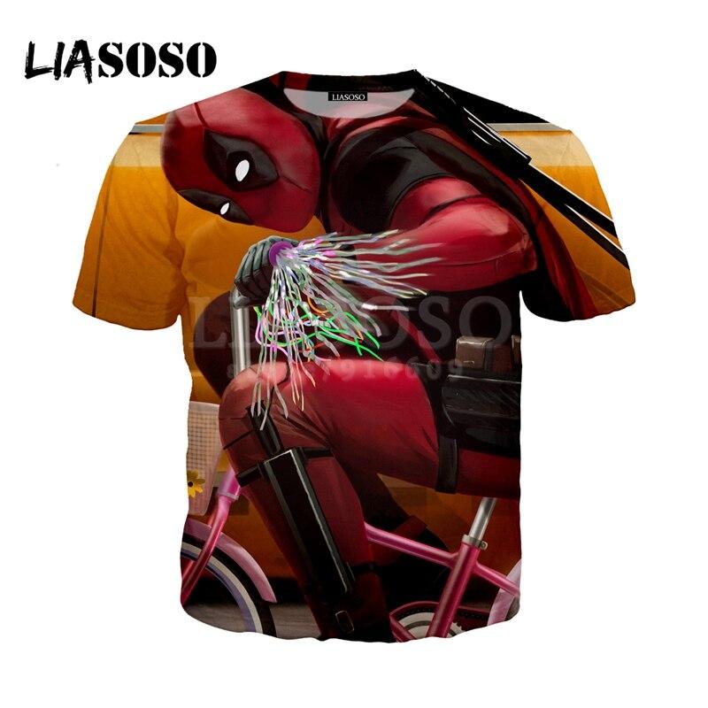 LIASOSO нового фильма Дэдпул 2 финальный трейлер маленький велосипед футболки 3D принт футболка/толстовка унисекс хорошее качество g1522