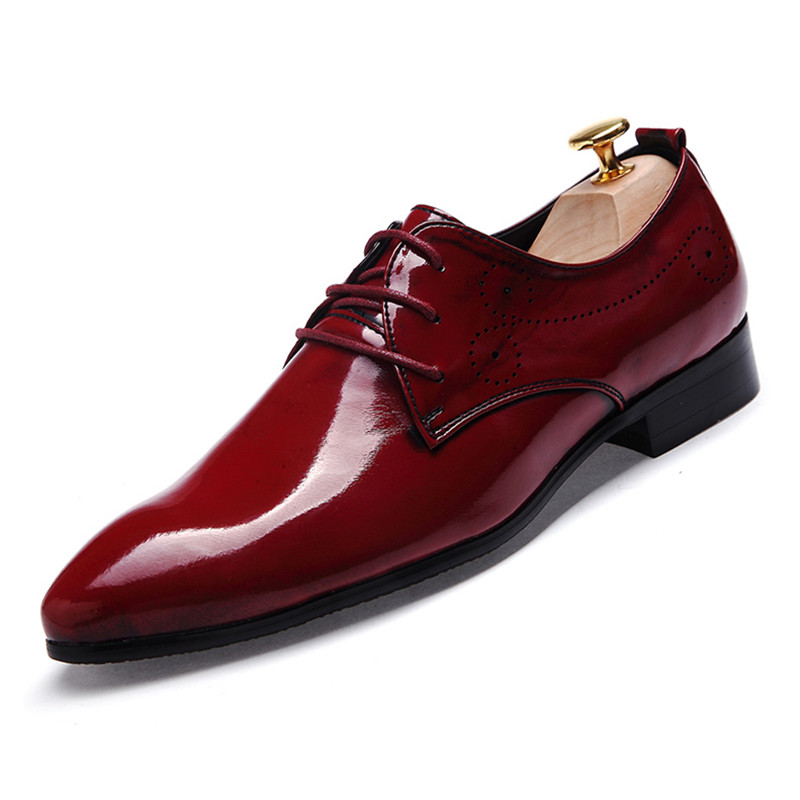 Mens Leather Patent Slip On Shoes Burgundy