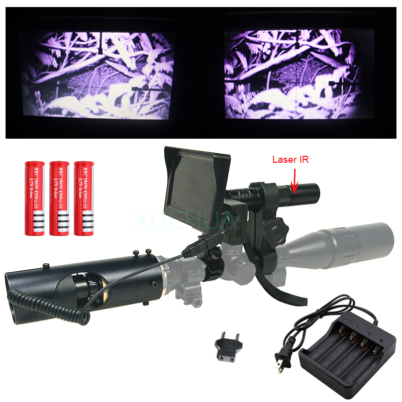 2018 Hot Hunting optics sight Laser Tactical digital Infrared night vision Binoculars with Flashlight and monitor For Scope new hot hunting tactical digital infrared monocular binoculars night vision with monitor and infrared flashlight for riflescopes