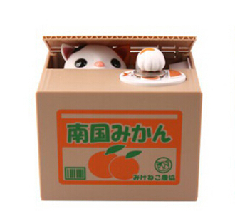 NEW Cute Automated Mechanical Piggy Bank saving money box  Orange style white cat action figure children toy kid gift  цены