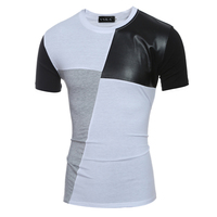 PU Leather Patchwork Compression Shirts Mens Crew Neck Short Sleeve Slim Summer T Shirt Boyfriend Youth