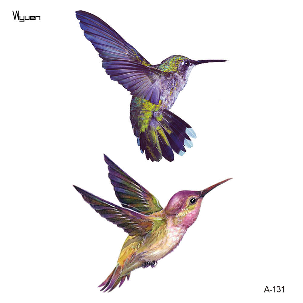 Wyuen New Design Hummingbird Fake Tattoo Original Flower Waterproof Temporary Arm Tatoo Stickers Body Art Bird Tattoos A-131