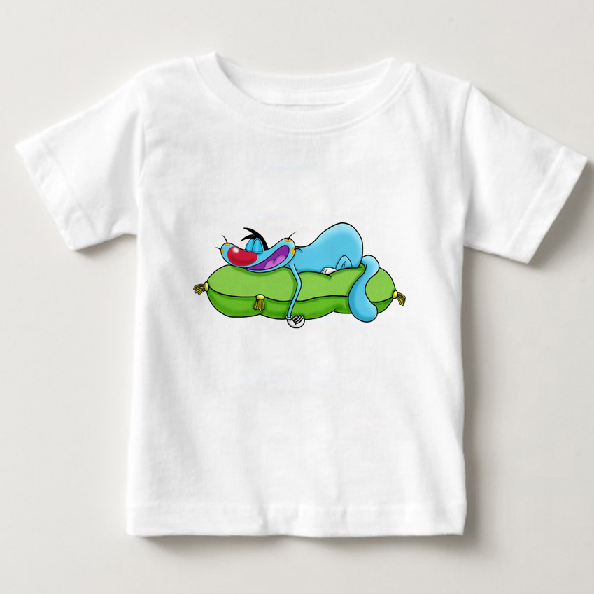 Childrens Summer T-shirt Boys and Girls Breathing Exercises Cotton Print Oggy The Cockroaches