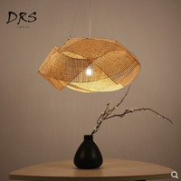 Southeast Asia Chandelier Bamboo Lights New Chinese Luminaire Suspendu Hanging Lamp Hand made Rattan Knitted Lantern Fixtures