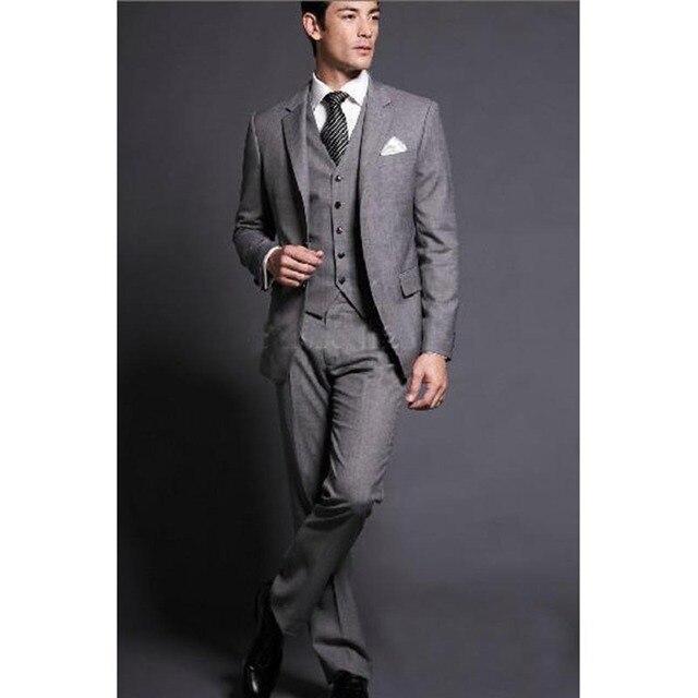 2017 gris claro trajes de boda para hombres slim fit groomsmen muesca  solapa smoking de dos 6f0aa495157a