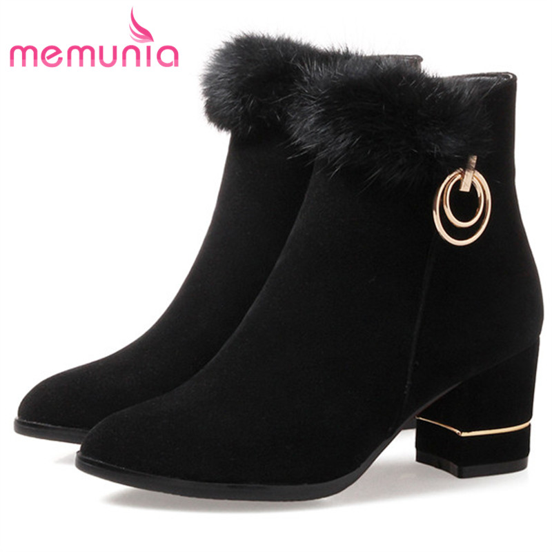 MEMUNIA PU nubuck leather boots female solid zip ankle boots for women fashion shoes woman spring autumn womens boots size 34-43 капри silver string silver string si021ewruc28