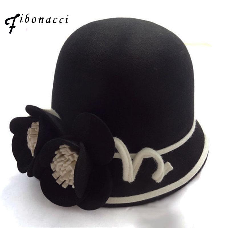 Fibonacci Noble Elegant Female Fedoras Wool Felt Hat Irregular Brim Stereoscopic Floral Dome Fedora Hats for Women