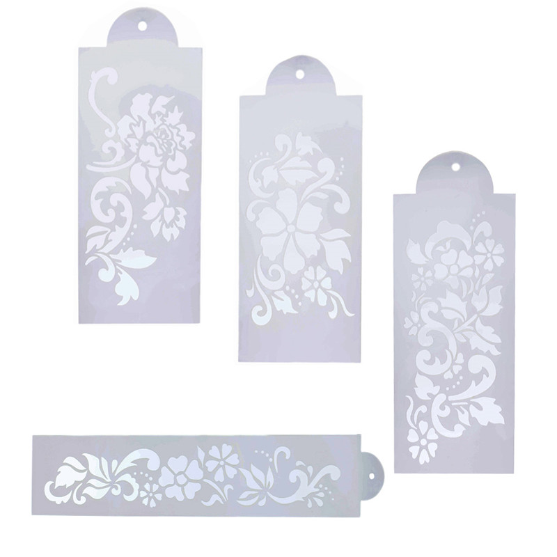 4Pcs Relief Flower Shaped Reusable Stencils For Diy Scrapbooking Airbrush Painting Home Decor Album Crafts Free Shipping