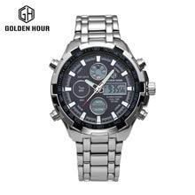 Mens relojes de lujo superior de la marca de Acero llena de Oro Viste el Reloj de Cuarzo Manos Luminosas Multifuncional Relojes dz relojes para hombres