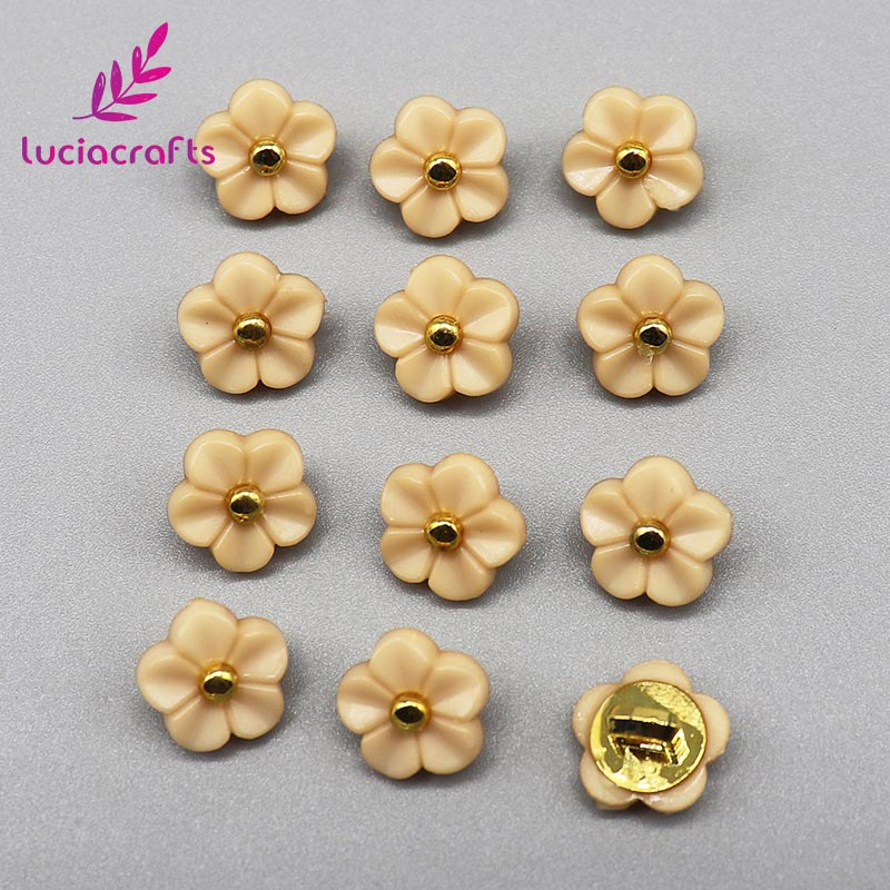 Lucia crafts, 12 шт./лот, 11 мм, цветочные пуговицы, сделай сам, для шитья одежды, пластиковая смола, хвостовик, кнопка, аксессуары для скрапбукинга, E0505 - Цвет: Khaki