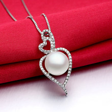 Sinya Natural pearl pendant charm necklace micro inlay cz stones high luster fashion design in 925 sterling silver women(China)
