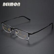 Multi focal Progressive Reading Glasses Men Titanium Frame Presbyopia Eyeglasses Male Eyewear +1.0+1.25+2.0+2.25+3.0+3.25 RS014