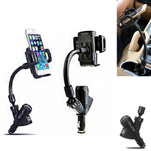 Universal mobile car charger bracket navigation with 2 USB 360 degree rotating tablet phone