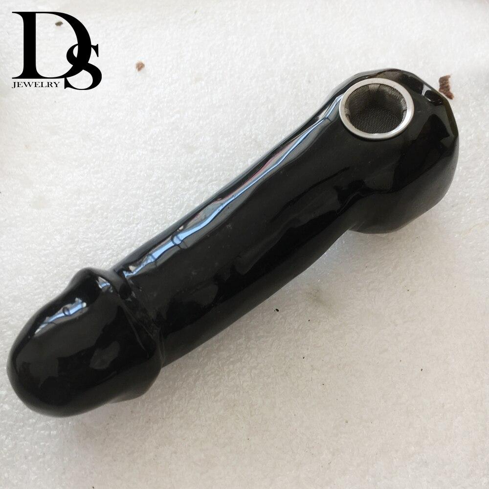 Natural Black Obsidian Smoking Pipe Quartz Crystal Smoking Pipe Tobacco + Strainer Quartz Stone Healing Wholesale