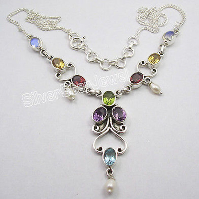 "Silver Authentic MULTISTONES HANDCRAFTED Necklace 17 5/8"" Inches"