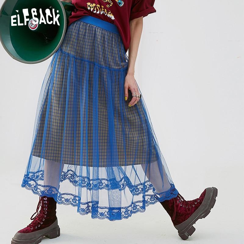 ELFSACK Mesh Patchwork Women Skirt Vintage Plaid A-Line Female Skirts 2019 Summer Lace Blue Casual Woman Bottoms