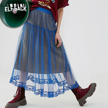 ELFSACK شبكة المرقعة المرأة تنورة خمر منقوشة ألف خط الإناث التنانير 2019 الصيف الدانتيل الأزرق قيعان امرأة عادية