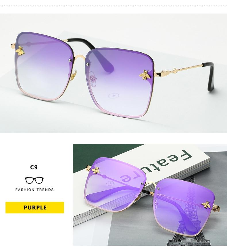 2020 new fashion lady oversize rimless square bee γυαλιά γυναικεία ανδρικά μικρά μέλισσα γυαλιά κλίση γυαλιά ηλίου γυναικεία uv400 msow