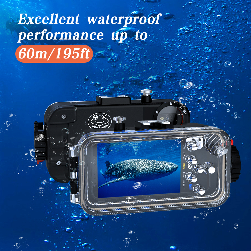 Diving Phone Housing case For iPhone X 60m Professional Waterproof Protective Cover Color Filter Shoot bright Photo Necessary (4)