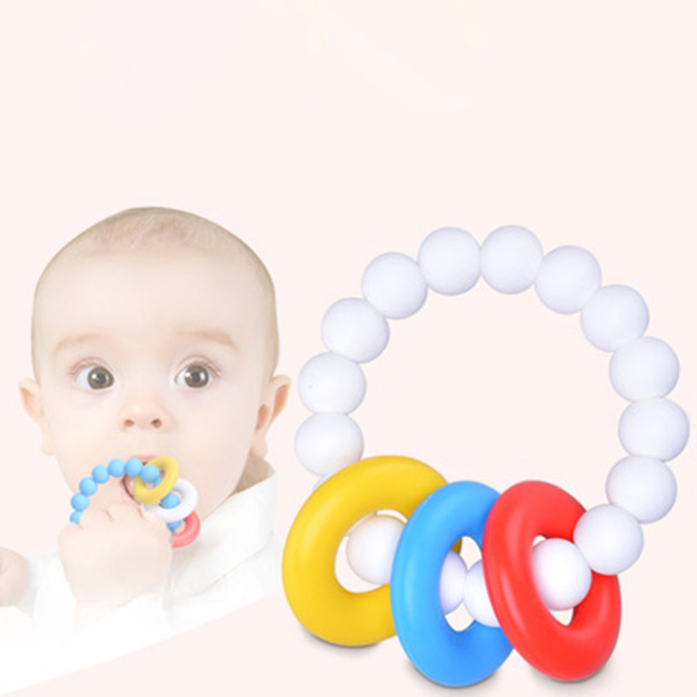 Natural Teether Bunny Ears Teething Ring Large Natural Wood Silicone Teether