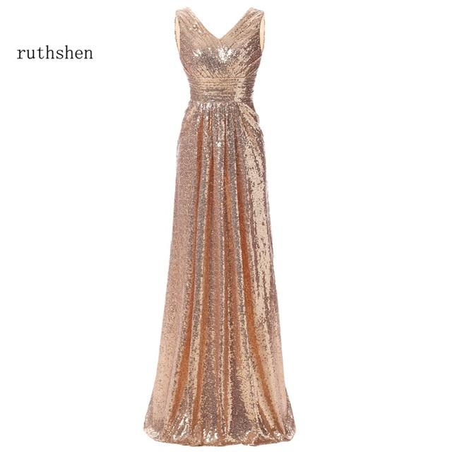 Ruthshen Reflexivo Ouro Vestido Longo Vestido de Noite Vermelho Vinho Preto Plissado Vestidos de Baile Barato Com Decote Em V Vestido Longo 2018 New Arrival