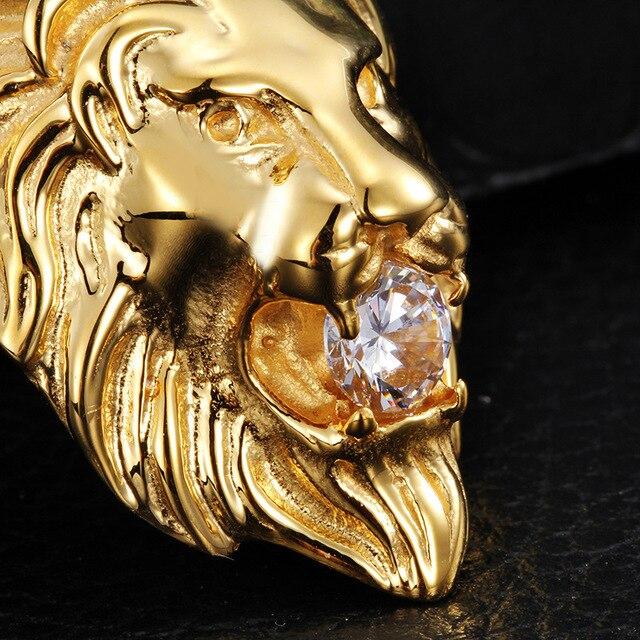 Замороженный Вне Ожерелье Нержавеющей Стали 316l Позолоченные Головой Льва рот Набор Шнека Ожерелье Высокого Качества Хип-Хоп Мужчины ювелирные изделия