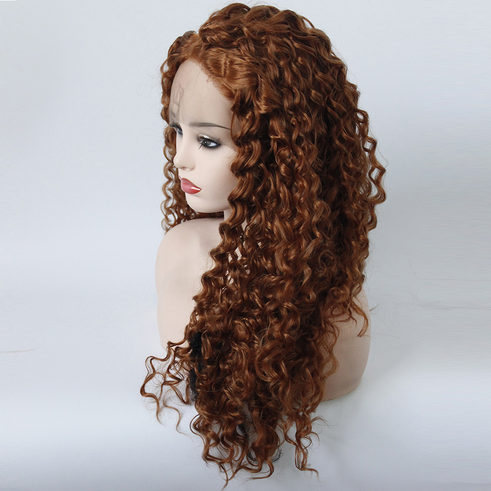 Blonde Curly Hair Middle Part Wig Hand Tied Brown Color Resistant High Temperature Synthetic Lace Front Wig for Black Women