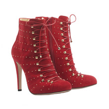Red Pointed Toe Rivets Lace-up Ankle High Short Boots For Women Real Image Ladies Boot High Heels Plus Size Womens Shoes Heels