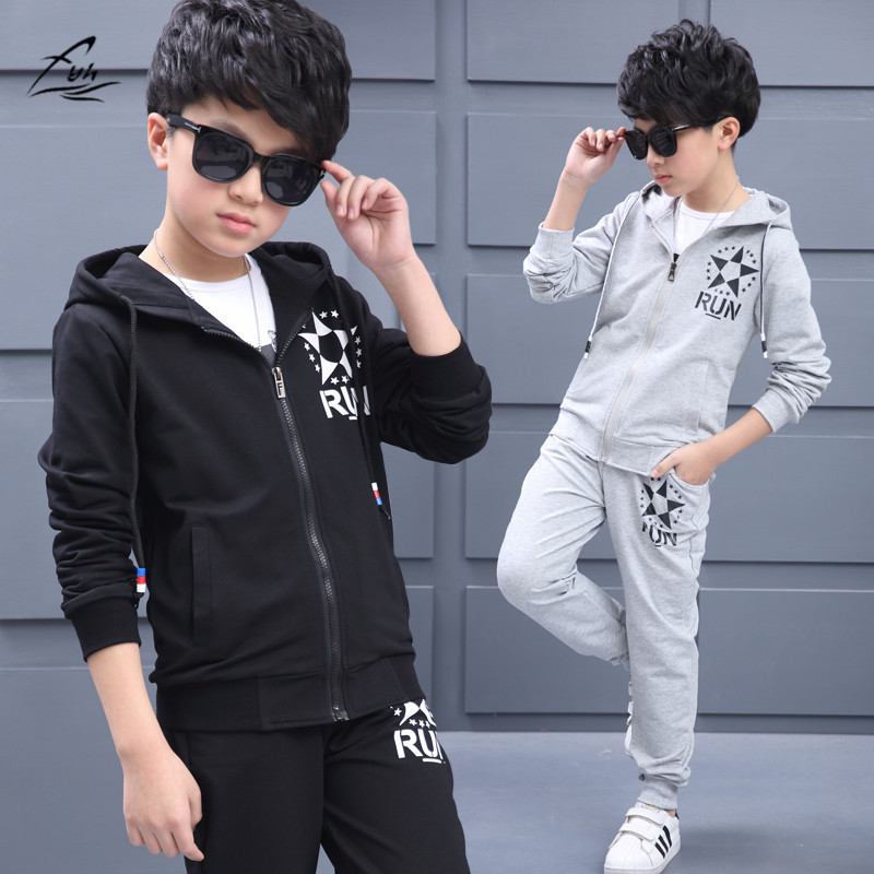 FYH Boys Clothing Teenagers Casual Suit Kids Spring Autumn Clothing Set 2pcs School boys Sports Suit Boys Hooded Coat+Pants fyh kids clothes boys spring autumn pleuche sports suit boys girls set school children clothing set 2pcs sweatshirt pants causal
