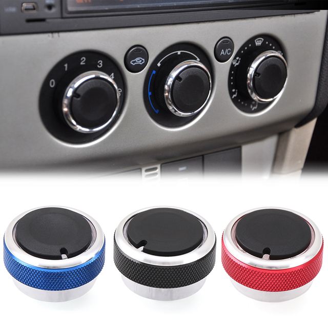 3pcs/Set 4 Colors Car AC Knob Aluminum alloy Air Conditioning Heat Control Switch Accessories Suitable For Ford For Focus