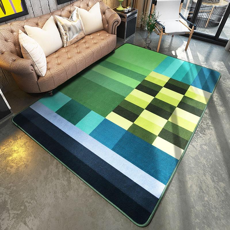 Unique Arts Color Block Big Carpet Living Room Sofa Side Area Rug Anti Skid  Polyester Carpet Bedroom Parlor Floor Mats Home Deco
