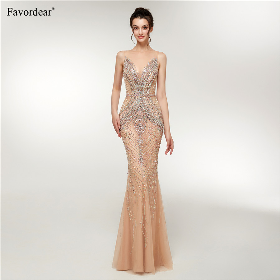 Sapphire Bridal 2019 New Womens Long Formal Gowns Sparkly Mermaid Gold Huge beaded Sexy Long   Evening     Dresses   Champagne Gold
