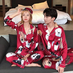 Image 4 - Lovers Pajamas Women Silk Stain Sleepwear Bighead Dog Printed Leisure Women Poplin Pijama Set Turn down Collar Housewear
