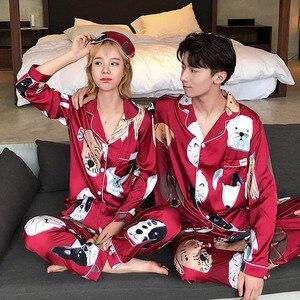 Image 4 - Pyjamas amoureux femmes soie tache vêtements de nuit Bighead chien imprimé loisirs femmes popeline Pijama ensemble col rabattu vêtements de maison