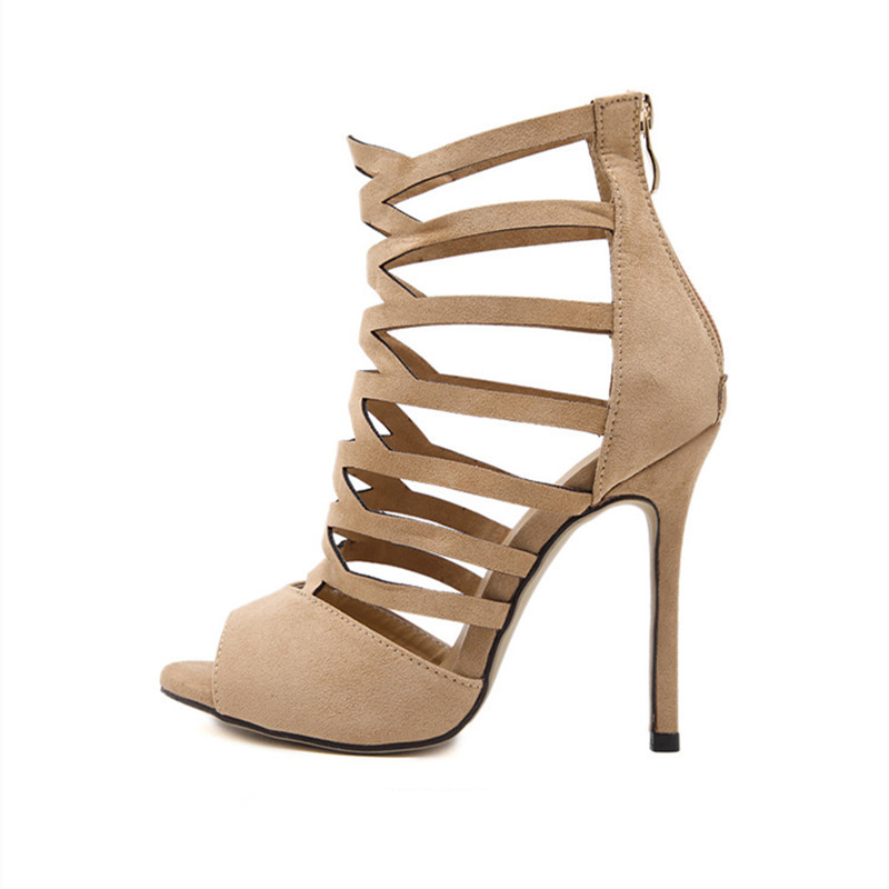 ФОТО 2017 Summer Peep Toe Gladiator Sandals Women Pump Footwear Sexy Extreme High Heels Stiletto Shoes Green Apricot Black