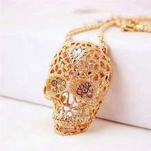 ROMAD Iced out Hip Hop Skull Pendant Necklace for Men Women Black Alloy AAA CZ Punk Necklace Hollow Full Crystal Necklace R1 alloy v shaped hollow out choker necklace