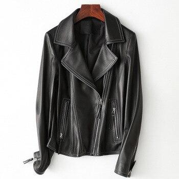 Ladies Genuine Leather Jacket Sheepskin Coat 100% Real Sheep Leather Jacket Women Motorcycle Autumn Winter Female Outerwear 2019