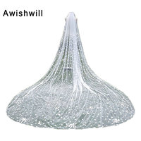 Voile Mariage 100% Real Photo One Layer 3 Meters with Flowers Bridal Veils With Cobm Long Veils Wedding