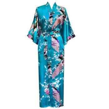 Floral, Pavo Real boda fiesta bata de dama de honor de la novia de talla grande 3XL rayón Kimono Albornoz Sexy ropa de dormir camisón largo