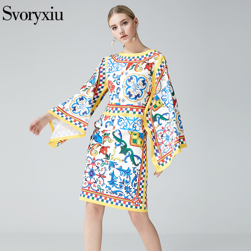 Svoryxiu 2019 Runway Elegant Women's Summer Dress Chic Long Sleeves Geometric Floral Print Slim Package Buttocks Dresses-in Dresses from Women's Clothing    1