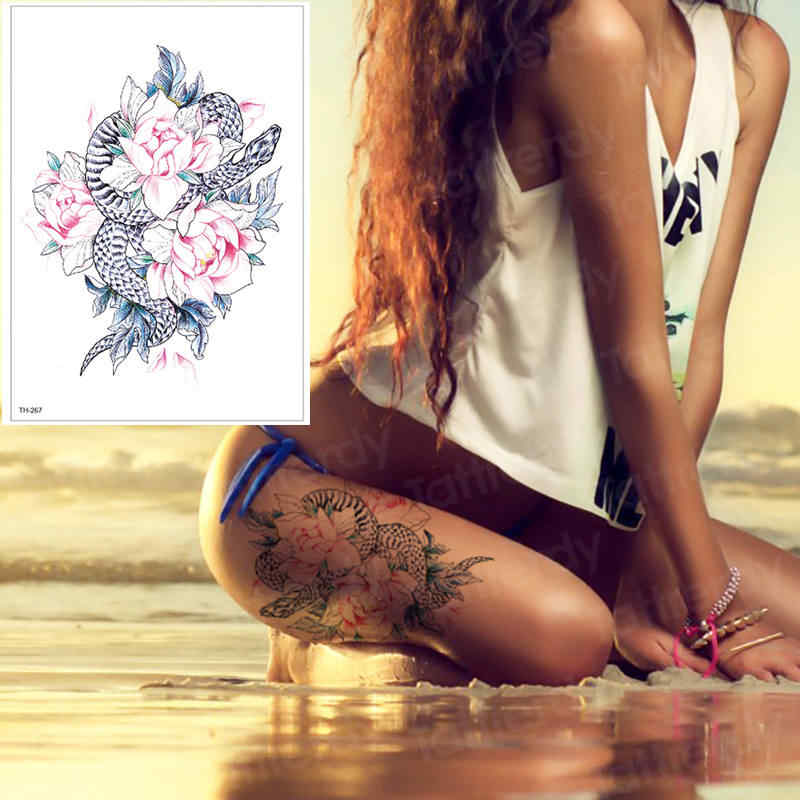 86c0fa321 temporary tattoos for women leg shoulder tattoo rose and snake tattoo fake  water transfer tattoo watercolor