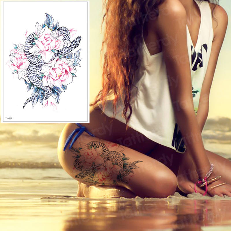 Temporary Tattoos For Women Leg Shoulder Tattoo Rose And Snake Tattoo Fake Water Transfer Tattoo Watercolor Body Art Thigh Tatto