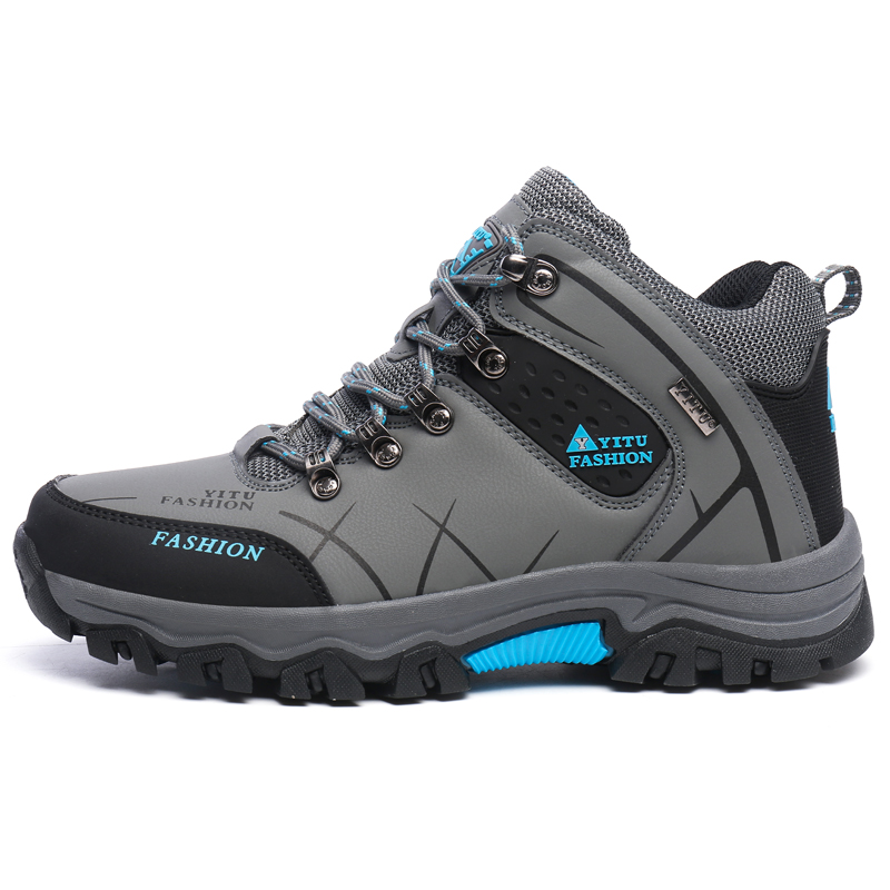Big Size 39 to 47 Men Outdoor Shoes Hiking Shoes Sports Waterproof Non slip Lace up Slip Resistant Male Sneakers Boots Shoes