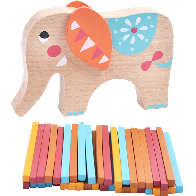 Colorful wooden animal elephant balance building blocks baby early learning enlightenment education toys children gifts danzig between east