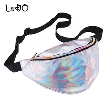 LUCDO Brand Fanny pack Laser Waist Packs Girls Handy Belt Bag Men Shoulder Bags Fashion 2018 Unisex Banana Leg Hip purses Bag(China)