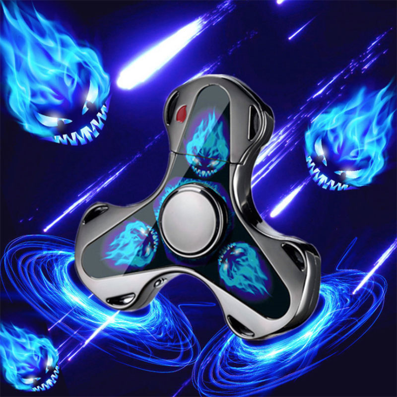 Finger Toy Fingertip Gyro Fidget Spinner Charging USB Lighter Lighting Three-leaf Gyro Gift Decompression Anti-stress Toy