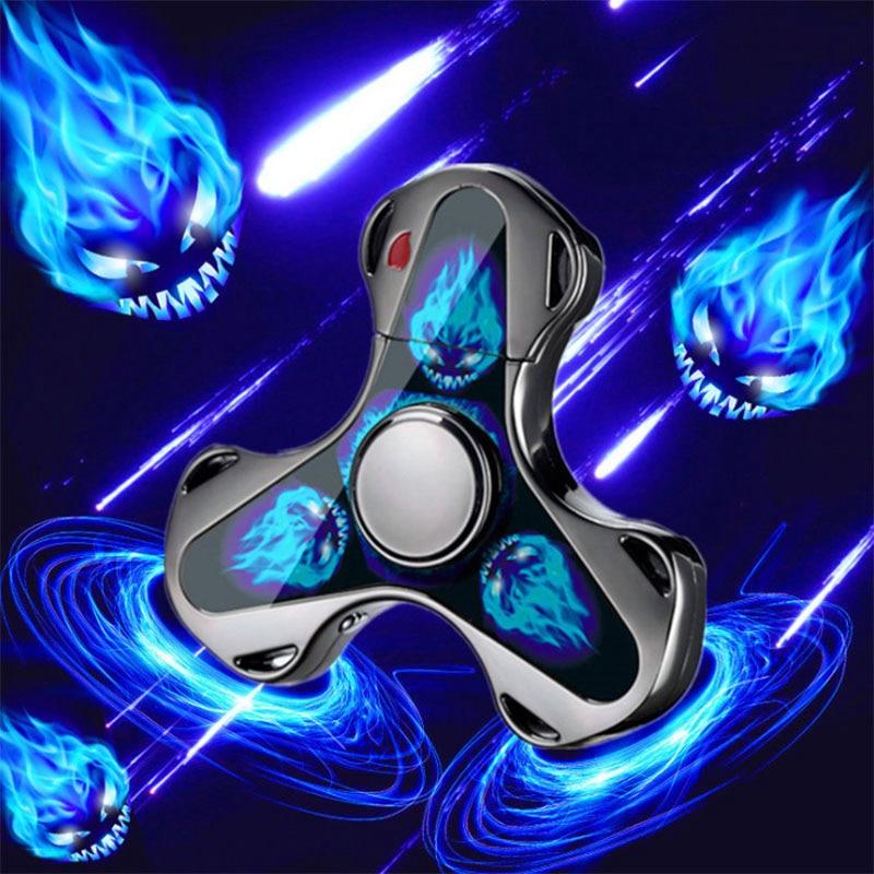 Finger Toy Fingertip Gyro Fidget Spinner Charging USB Lighter Lighting Three-leaf Gyro Gift Decompression Anti-stress Toy