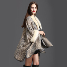 2018 Winter Warm Plus Size Knitted Long Sleeves Leopard  Poncho Print Shawl Women Faux Fox Fur Loose Cardigan Coat
