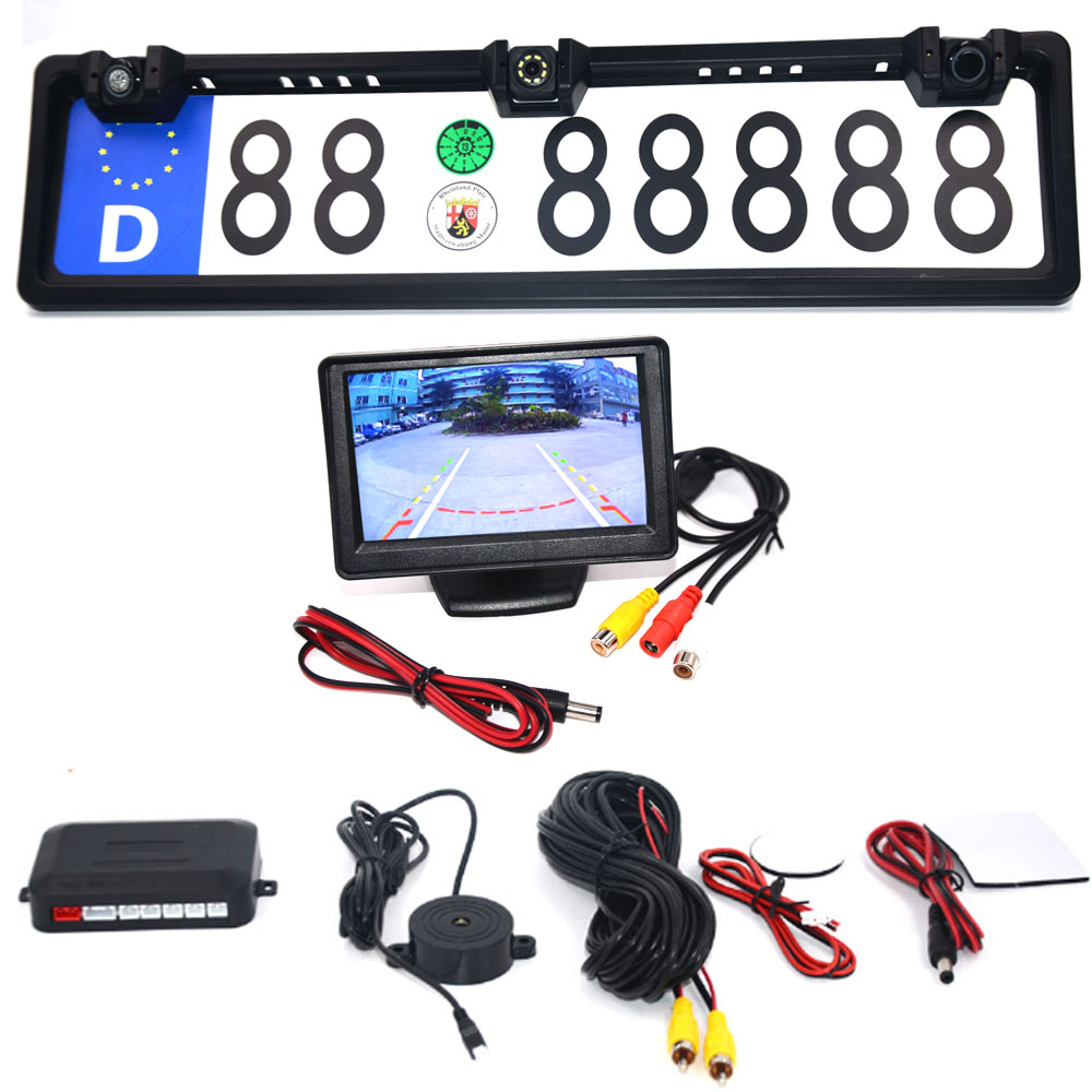 4 3 Car Monitor EU European License Plate Frame Car Rear View Camera Waterproof Night Vision Reverse Backup Camera 4 LED light