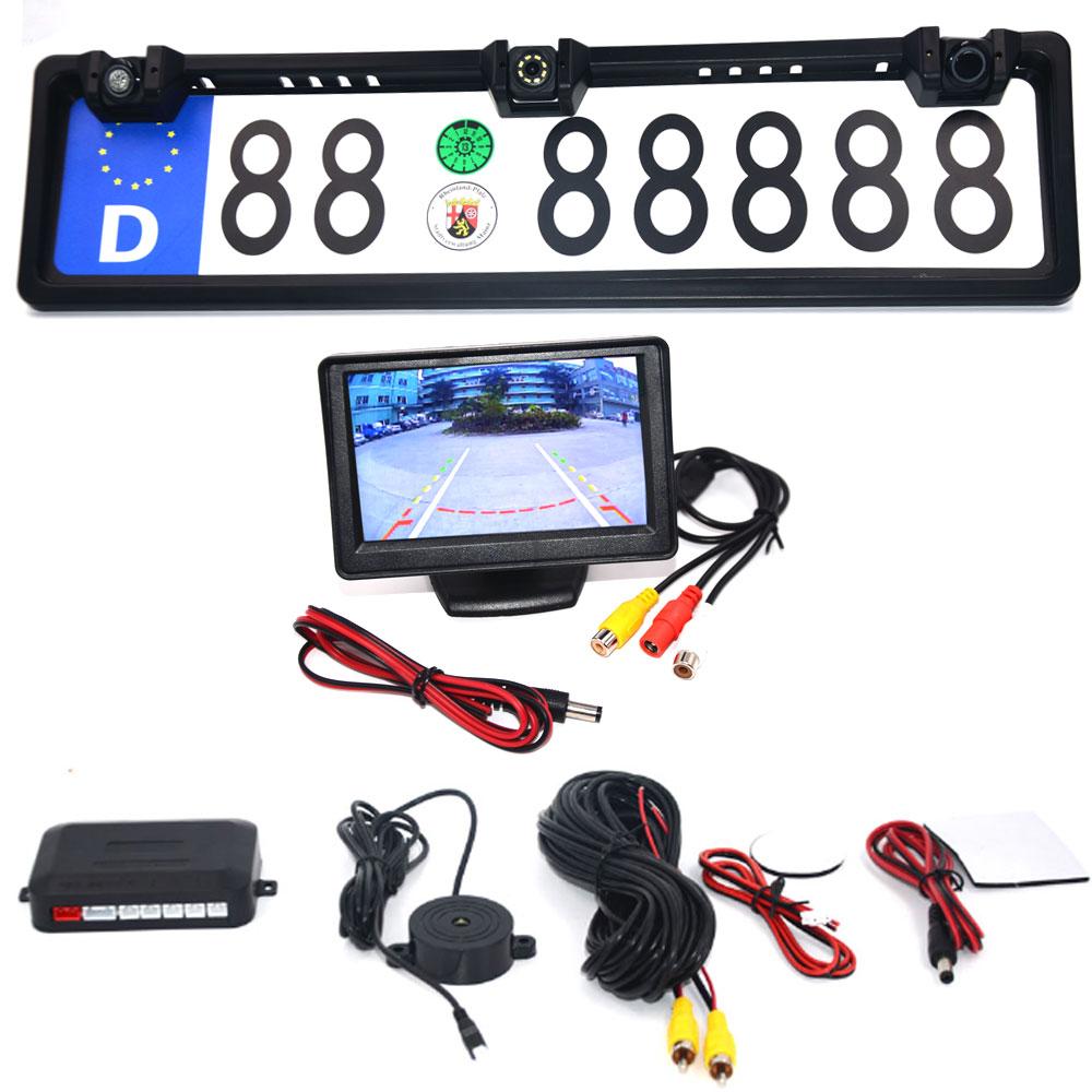 4.3 Car Monitor EU European License Plate Frame Car Rear View Camera Waterproof Night Vision Reverse Backup Camera 4 LED Light